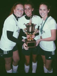 12A - 3 players with trophy - Glancey, Kaitlyn Kelley, Abigail Vogel