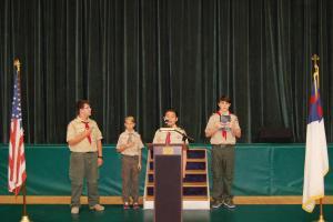 DSC 0011A - Scouts leading pledges