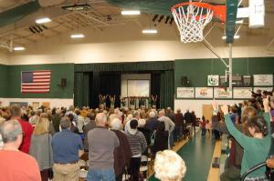 DSC 0194B - 5th grade worship team from rear of gym, crowd shot