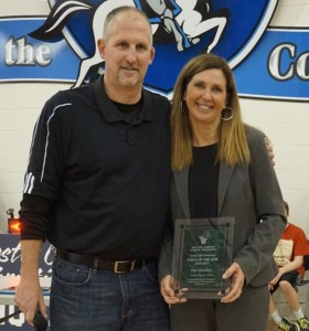 IMG 5523A - Pam Hitchner receives TSCAC Coach of the Year award, Chris Storr, Conf president