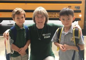 IMG 7015A - Garner with students at bus loop