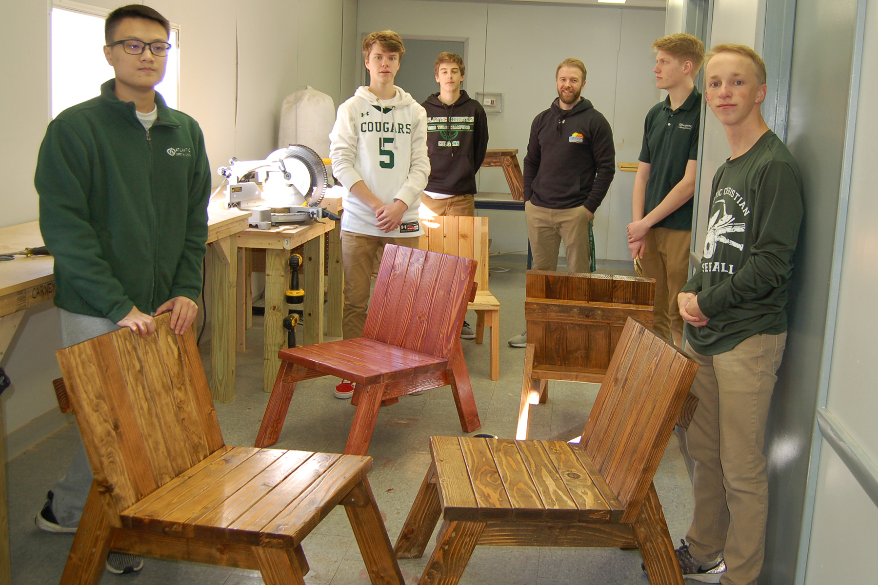 High School Woodworking Students Build Adirondack Style